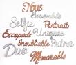 10 mots grand format pailletés argent & bronze lot 3