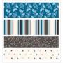 4 rubans textile adhésifs assortis bleus
