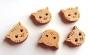 5 boutons en bois tête de chat
