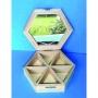 Boîte à bijoux hexagonale avec miroir