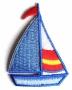 Broderie bateau bleu