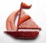Broderie bateau orange