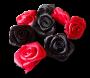 Ensemble de 8 roses en satin noires et rouges