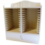 Etagère range CD à tiroir en bois