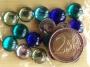 Grosses demi-perles translucides lumière couleurs aquatiques