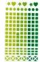 Petits stickers géométriques translucides verts