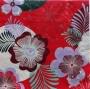 Serviette papier fleurie fond rouge