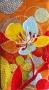 Serviette papier rectangulaire fleurie multicolore