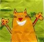 Serviette papier chat joyeux