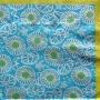 Serviette papier fleurie turquoise et anis