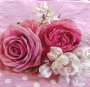 Serviette papier roses épanouies