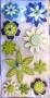 Stickers chipboards 3D fleurs blanc,bleu,vert