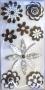 Stickers chipboards 3D fleurs noires et blanches