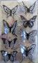 Stickers envol de petits papillons noir et blanc croisillons