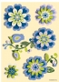 Stickers fleurs 3D transparent bleu vert