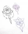 Trio de fleurs en formes géométriques