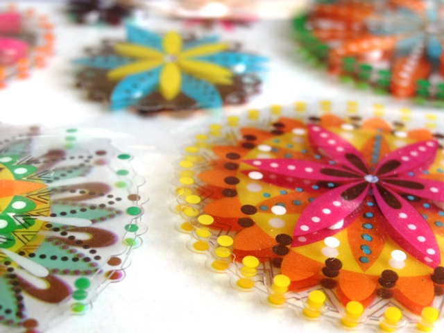 boutique scrapbooking elaia - stickers transparent colore fleurs